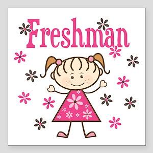 "Freshman Girl Square Car Magnet 3"" x 3"""