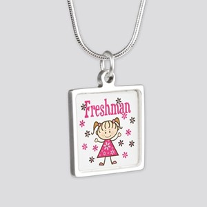 Freshman Girl Silver Square Necklace
