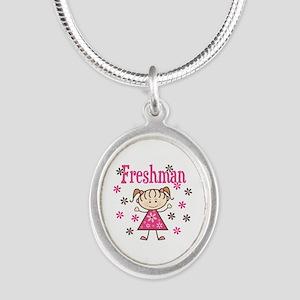 Freshman Girl Silver Oval Necklace