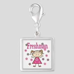 Freshman Girl Silver Square Charm