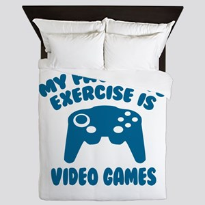 My Favorite Exercise is Video Games Queen Duvet