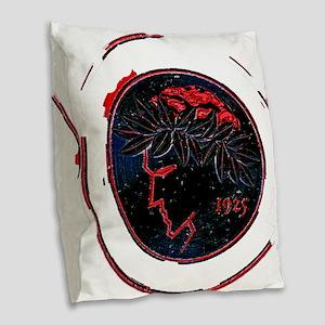 Olympiacos Black Metal Burlap Throw Pillow