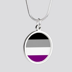 Asexual Pride Flag Silver Round Necklace