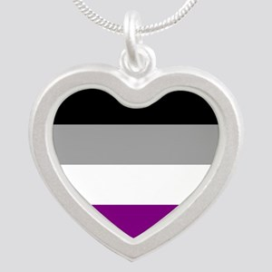 Asexual Pride Flag Silver Heart Necklace