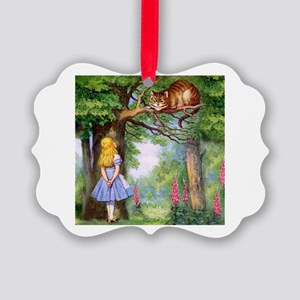 Alice and the Cheshire Cat Picture Ornament