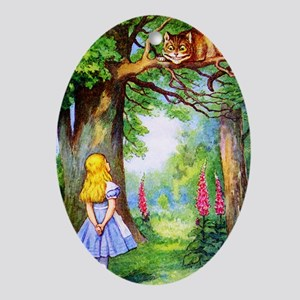 Alice and the Cheshire Cat Ornament (Oval)