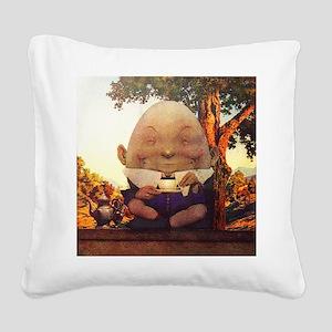 Humpty Dumpty in Wonderland Square Canvas Pillow