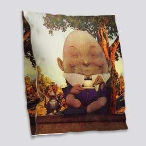 Humpty Dumpty in Wonderland Burlap Throw Pillow