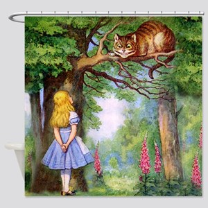 Alice And The Cheshire Cat Shower Curtain