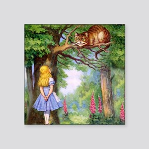 "Alice and the Cheshire Cat Square Sticker 3"" x 3"""