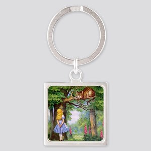 Alice and the Cheshire Cat Square Keychain