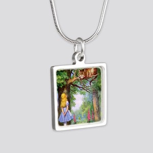 Alice and the Cheshire Cat Silver Square Necklace