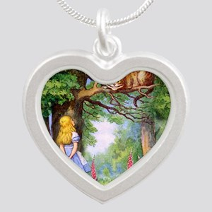 Alice and the Cheshire Cat Silver Heart Necklace