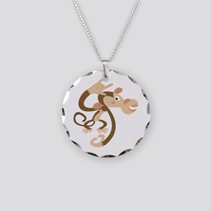 ASL I Love You Monkey Necklace Circle Charm
