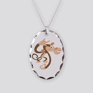 ASL I Love You Monkey Necklace Oval Charm