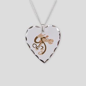 ASL I Love You Monkey Necklace Heart Charm