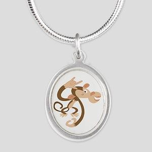 ASL I Love You Monkey Silver Oval Necklace