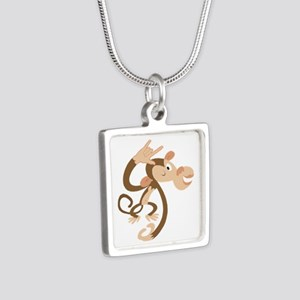 ASL I Love You Monkey Silver Square Necklace