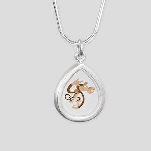 ASL I Love You Monkey Silver Teardrop Necklace