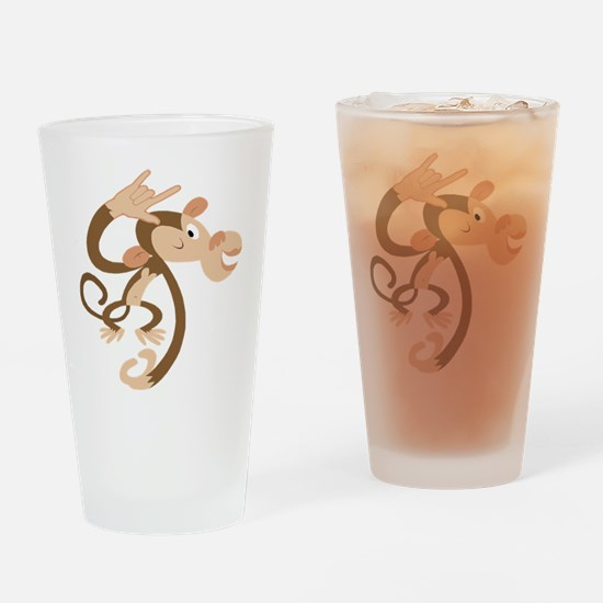 ASL I Love You Monkey Drinking Glass