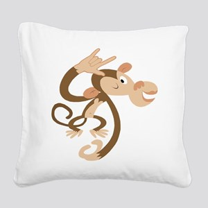ASL I Love You Monkey Square Canvas Pillow