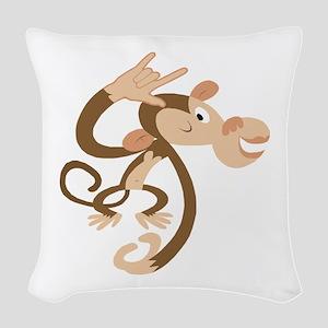 ASL I Love You Monkey Woven Throw Pillow