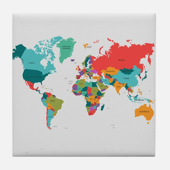 World Map With the Name of The Countries Tile Coas