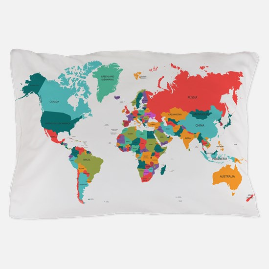 World map bedding cafepress world map with the name of the countries pillow ca gumiabroncs Images