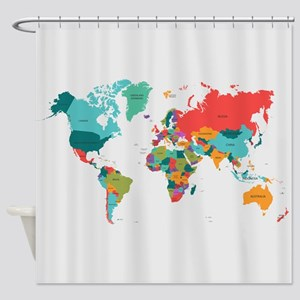World map shower curtains cafepress world map with the name of the countries shower cu gumiabroncs Images