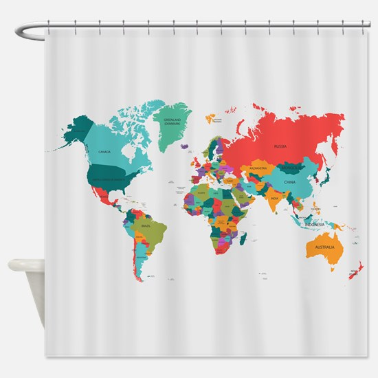 World map shower curtains cafepress world map with the name of the countries shower cu gumiabroncs Gallery