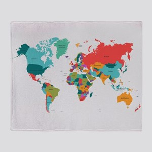 World map blankets cafepress world map with the name of the countries throw bla gumiabroncs Images