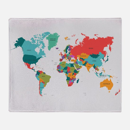 World map throw blankets world map fleece blankets stadium world map with the name of the countries throw bla publicscrutiny Choice Image