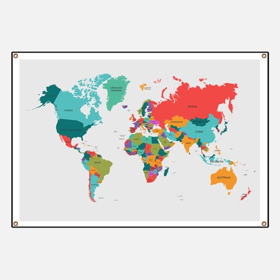 World Map With the Name of The Countries Banner