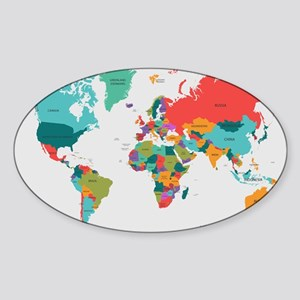 World Map With the Name of The Countries Sticker