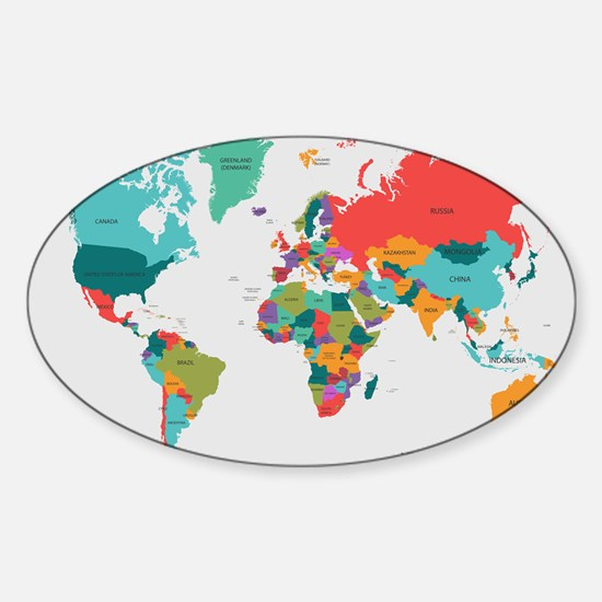 World Map With the Name of The Countries Bumper Stickers