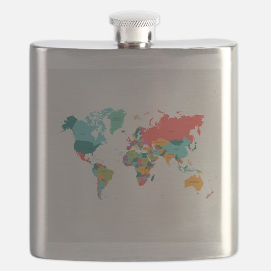 World Map With the Name of The Countries Flask