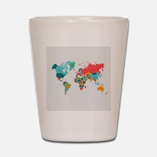 World Map With the Name of The Countries Shot Glas