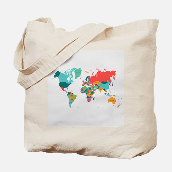 World Map With the Name of The Countries Tote Bag