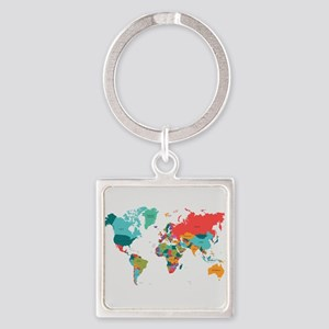 World Map With the Name of The Countries Keychains