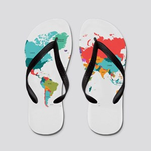 World Map With the Name of The Countries Flip Flop
