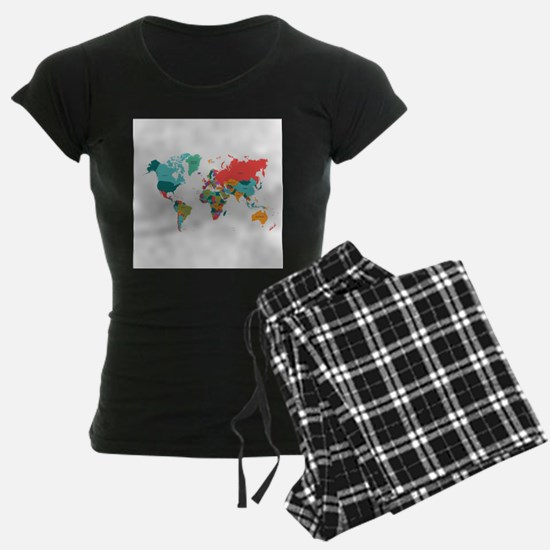 World Map With the Name of The Countries Pajamas