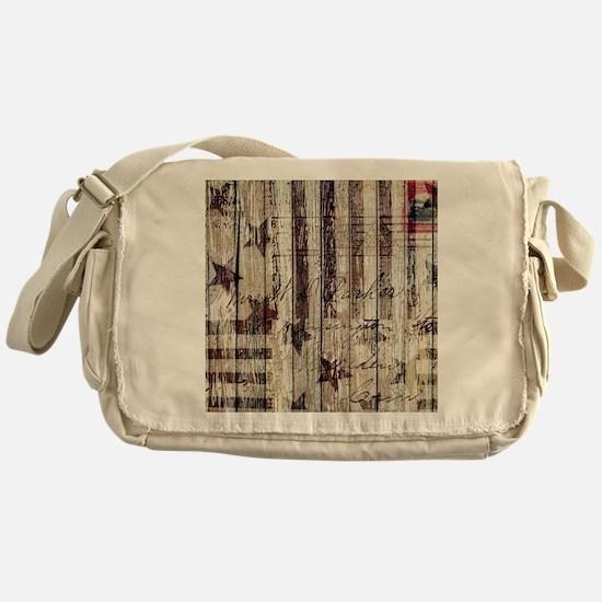 grunge USA flag Messenger Bag
