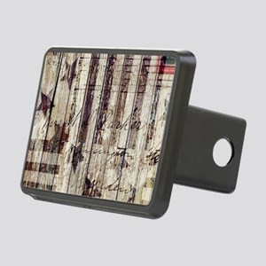 grunge USA flag Rectangular Hitch Cover