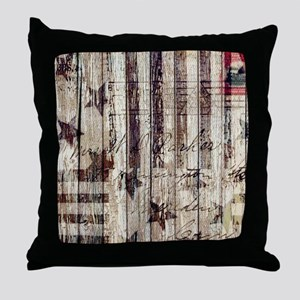grunge USA flag Throw Pillow
