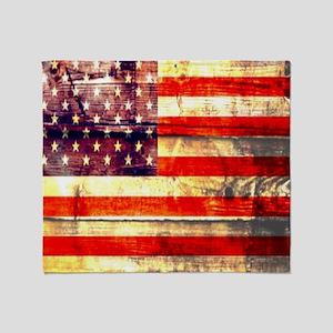 grunge USA flag Throw Blanket