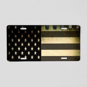 black white grunge USA flag Aluminum License Plate