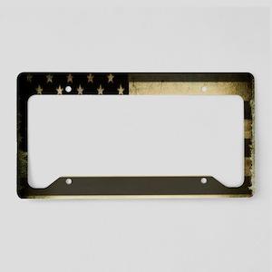black white grunge USA flag License Plate Holder