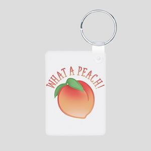 What A Peach Aluminum Photo Keychain