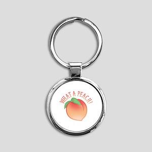 What A Peach Round Keychain
