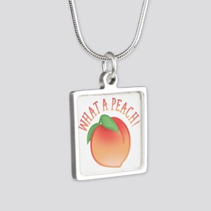 What A Peach Silver Square Necklace